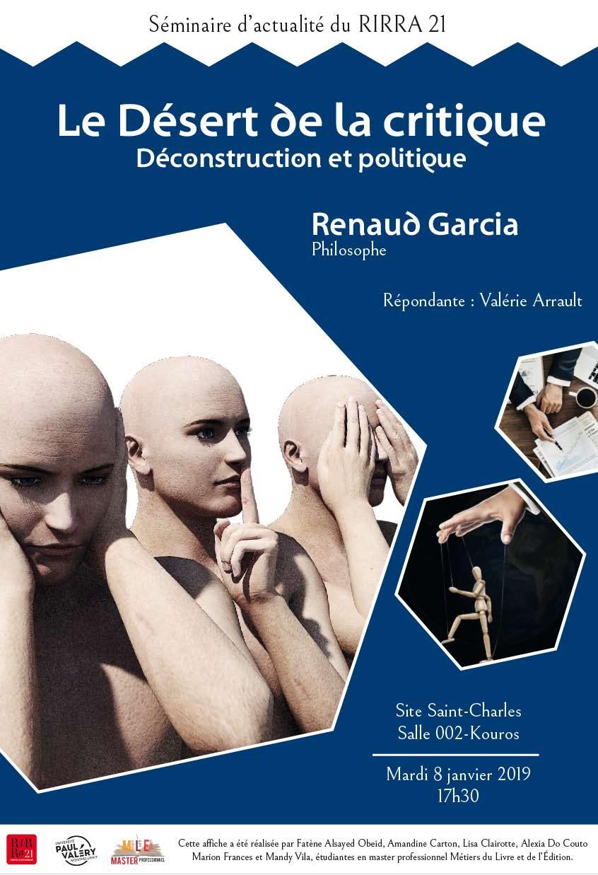 Déconstruction et politique avec Renaud Garcia .